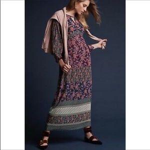 Cabi Festive Maxi Dress Long Sleeve Floral Print M